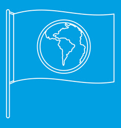 Flag with world planet icon outline style vector