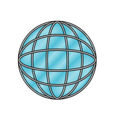 globe world icon in color crayon silhouette vector image