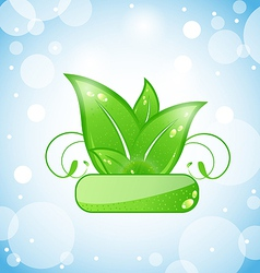 green nature leaves on blue background vector image