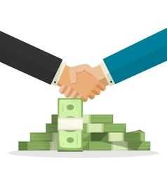Handshake near money pile vector image