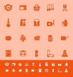 Home kitchen color icons on orange background vector
