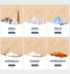 india australia time to travel set of travel vector image