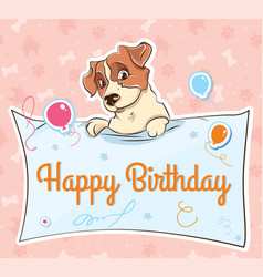 Jack russell terrier llustration cartoon card vector
