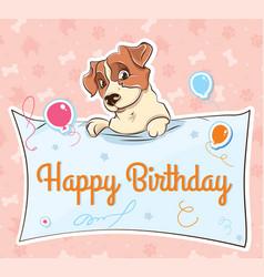 Jack russell terrier llustration cartoon card vector