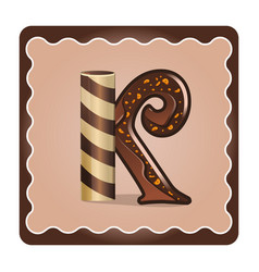 Letter k candies chocolate vector
