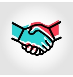 Line handshake icon vector