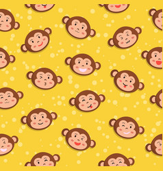 monkey seamless pattern yellow vector image vector image