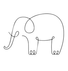 one line elephant design silhouette hand drawn vector image vector image