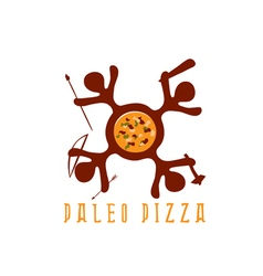 Paleo pizza concept with cavemans vector