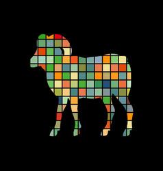 Ram farm mammal color silhouette animal vector
