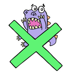 Scared purple dragon and big green cross mark vector