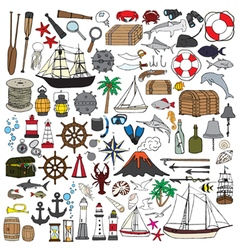 set of objects symbolizing navigation vector image