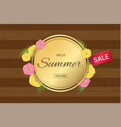 Summer flowers gold frame or summer floral design vector