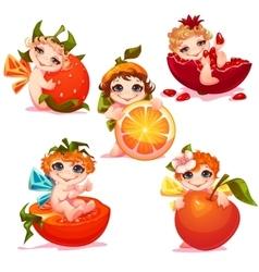 Sweet fairies with apple orange tomato and vector