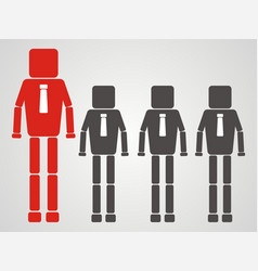 Teamwork concept businessman with square head vector