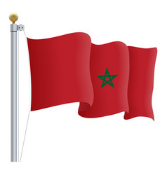 waving morocco flag isolated on a white background vector image vector image