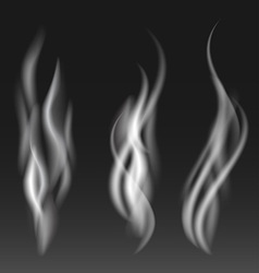 White smoke set on black background vector