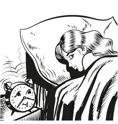 Woman sleeping with alarm line vector