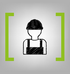 Worker sign black scribble icon in citron vector