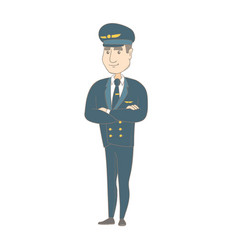 Young caucasian pilot standing with folded arms vector