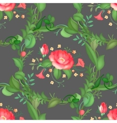 Seamless pattern of rose flower wreath vector image