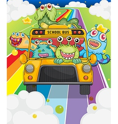 A school bus with monsters vector