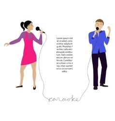 Couple singing into microphone vector