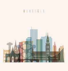 Brussel skyline detailed silhouette vector