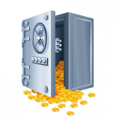 Open safe with gold coins vector
