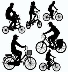 Bicycle ride silhouettes vector