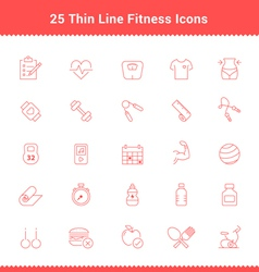 Set of Thin Line Stroke Fitness Icons vector image