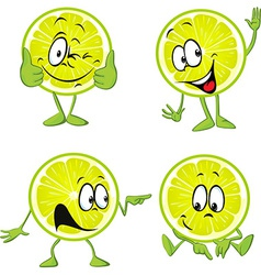 Lime cartoon with hands isolated on white vector
