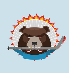 Hockey emblem angry bear vector