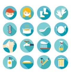 Health and sanitation flat icons set vector