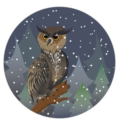 Owl in night forest2 vector