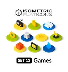 Isometric flat icons set 13 vector