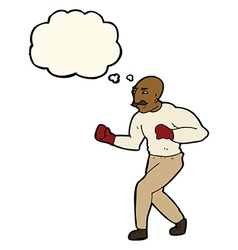 Cartoon boxer with thought bubble vector
