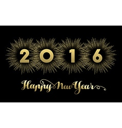 New year 2016 gold banner firework greeting card vector