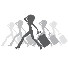 silhouette of women with a suitcase vector image