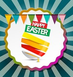 Happy easter retro label background with flags and vector