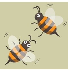 Two bees isolated picture cartoon style vector