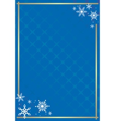 blue frame with texture and snowflakes vector image