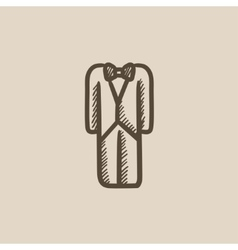 Wedding tuxedo sketch icon vector