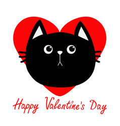 black cat head icon red heart cute funny cartoon vector image