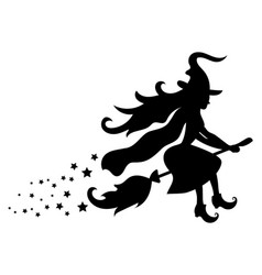 black silhouette of a witch flying on a broomstick vector image