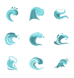 Blue wave icons set flat style vector