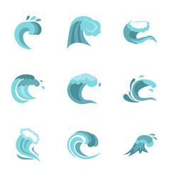 blue wave icons set flat style vector image