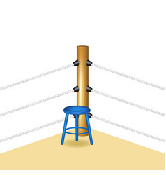 Boxing corner with blue wooden stool vector