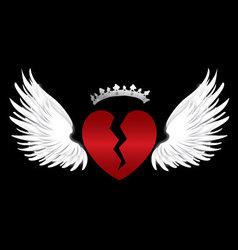 Broken heart wings vector