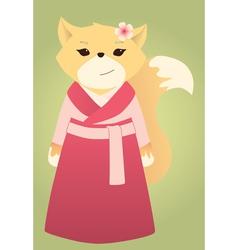 cartoon asian fox vector image vector image